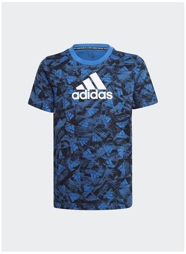 adidas Adidas Erkek Çocuk Mavi-Siyah Bisiklet Yaka T-Shirt Mavi